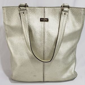 Cole Haan Gold Metallic Leather Tote Bag Purse